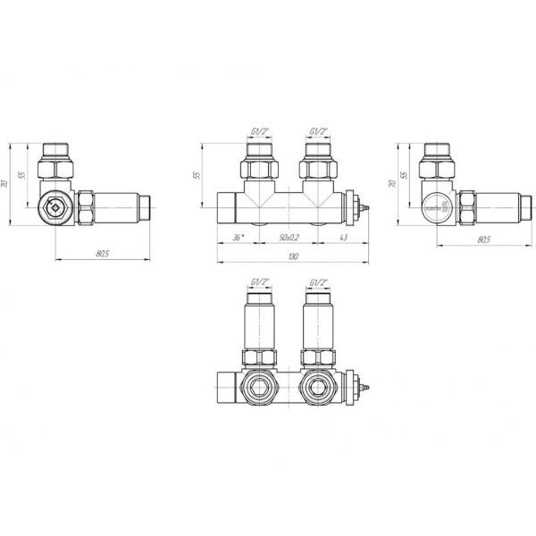 Марио кран угловой з термоголовкой (подкл.50 мм) 4820111354344
