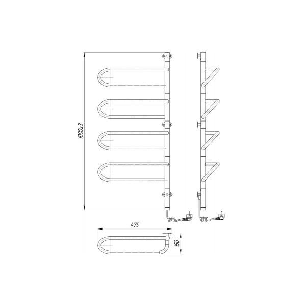 Полотенцесушитель электрический Марио Електра-I 1000x475/150 4820111354757