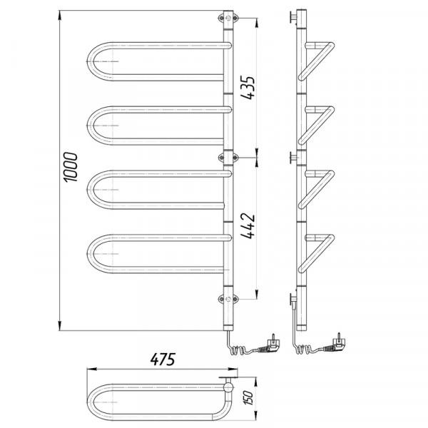 Полотенцесушитель электрический Марио Электра-I 1000x475/150 л/п 4820111354764