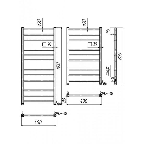 Полотенцесушитель электрический Марио Премиум Классик-I 800х500/80 л/п 4820111354610