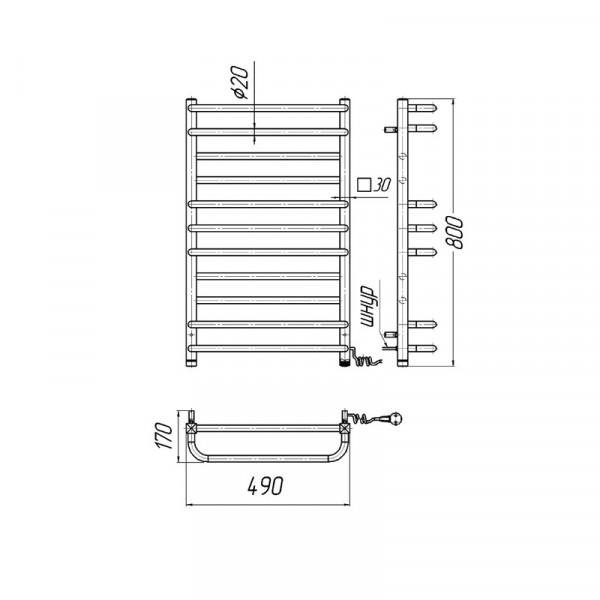 Полотенцесушитель электрический Марио Премиум Люкс-I 800х500/170 л/п 4820111354634