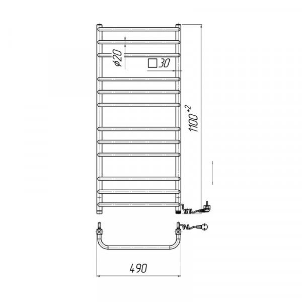 Полотенцесушитель электрический Марио Премиум Стандарт-I 1100х500/170 4820111354207