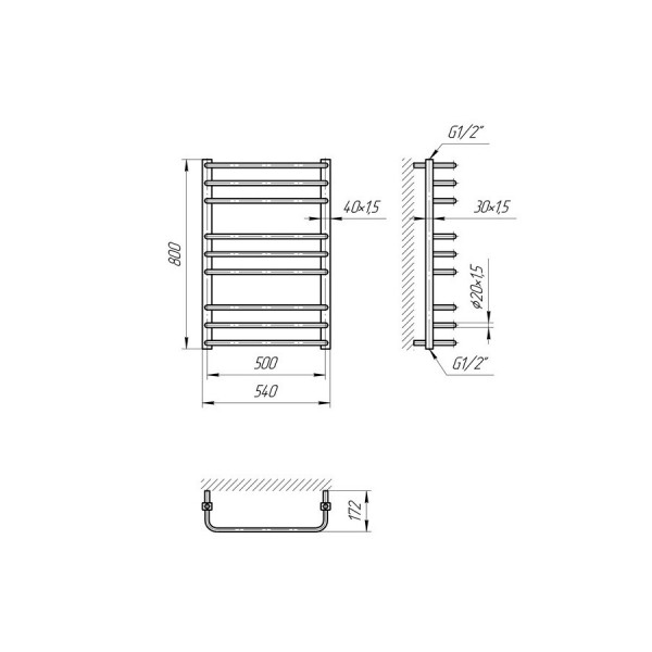 Полотенцесушитель электрический Марио Премиум Стандарт-I 800х500/170 4820111354214