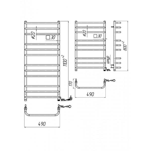 Полотенцесушитель электрический Марио Премиум Стандарт-I 800х500/170 л/п 4820111354658