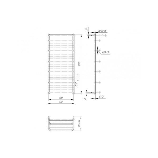 Полотенцесушитель водяной Марио Премиум Люксор 1200х530/500 4820111353316