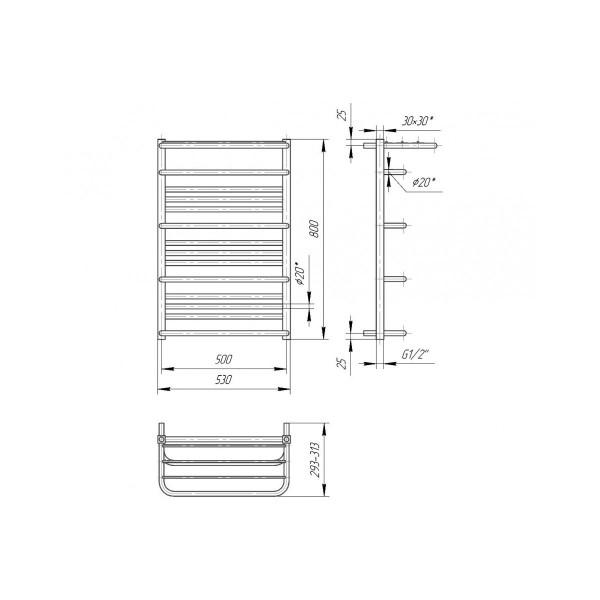 Полотенцесушитель водяной Марио Премиум Люксор 800х530/500 4820111353330