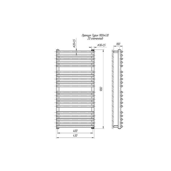 Полотенцесушитель водяной Марио Премиум Турин 900х430/400 4820111353088