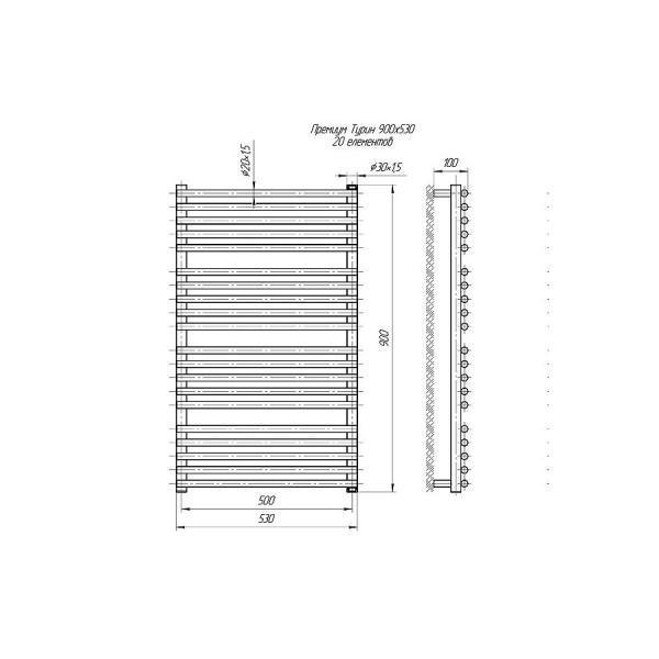 Полотенцесушитель водяной Марио Премиум Турин 900х530/500 4820111353095
