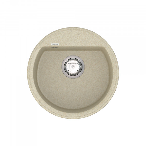 Кухонная мойка из кварцевого камня круглая Vankor Easy EMR 01.45 Beige