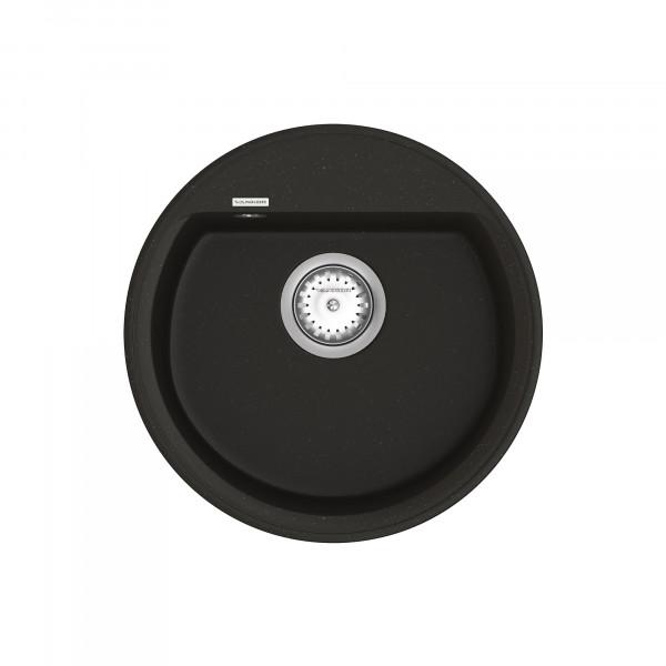 Кухонная мойка из кварцевого камня круглая Vankor Easy EMR 01.45 Black