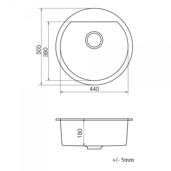 Кухонная мойка из кварцевого камня круглая Vankor Tera TMR 01.50 Gray
