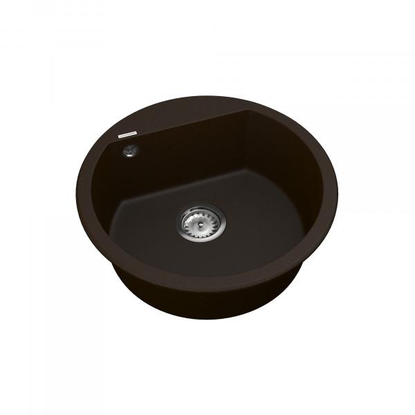 Кухонная мойка из кварцевого камня круглая Vankor Tera TMR 01.50 Chocolate