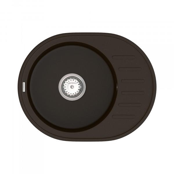 Кухонная мойка из кварцевого камня овальная Vankor Lira LMO 02.57 Chocolate