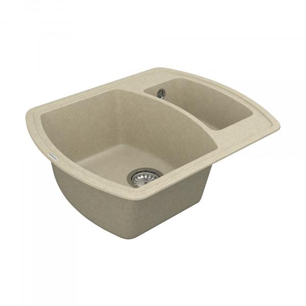 Кухонная мойка из кварцевого камня прямоугольная на полторы чаши Vankor Norton NMP 03.63 Beige