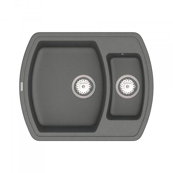 Кухонная мойка из кварцевого камня прямоугольная на полторы чаши Vankor Norton NMP 03.63 Gray