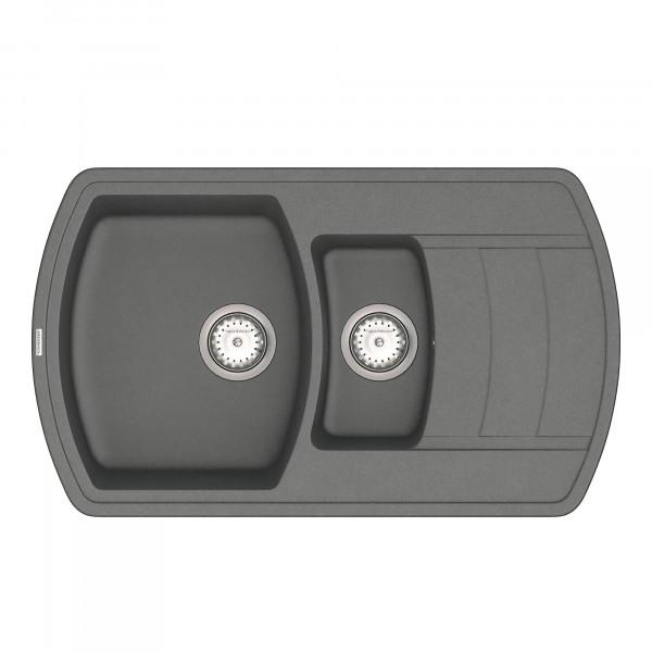 Кухонная мойка из кварцевого камня прямоугольная на полторы чаши Vankor Norton NMP 04.86 Gray