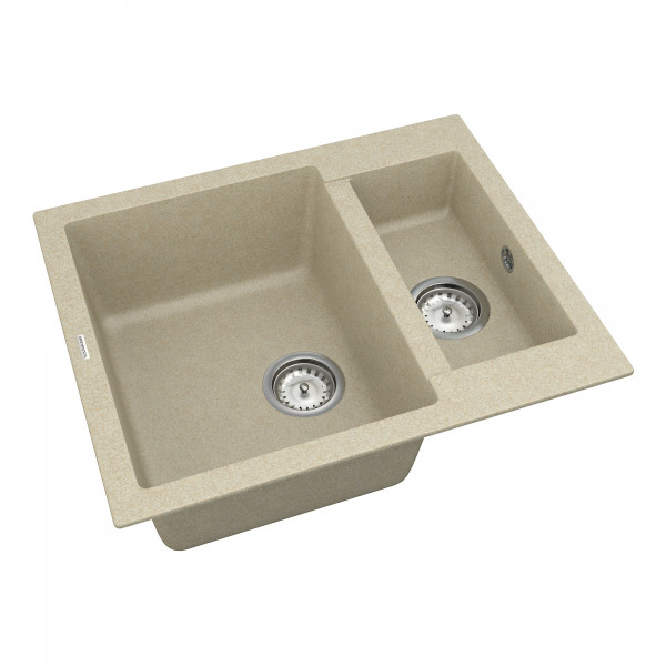 Кухонная мойка из кварцевого камня прямоугольная на полторы чаши Vankor Orman OMP 03.61 Beige