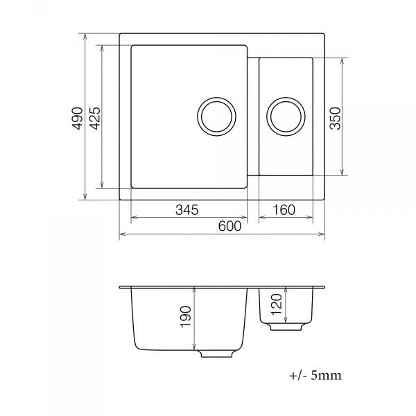Кухонная мойка из кварцевого камня прямоугольная на полторы чаши Vankor Orman OMP 03.61 Black