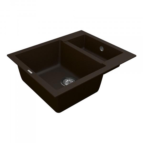 Кухонная мойка из кварцевого камня прямоугольная на полторы чаши Vankor Orman OMP 03.61 Chocolate