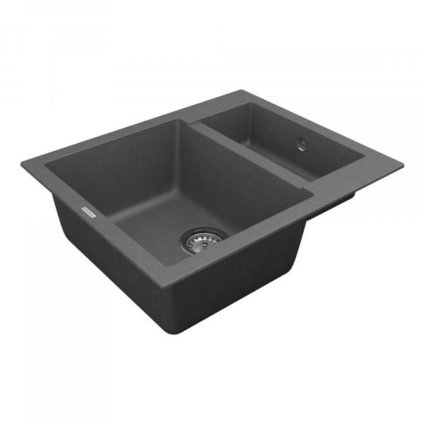 Кухонная мойка из кварцевого камня прямоугольная на полторы чаши Vankor Orman OMP 03.61 Gray