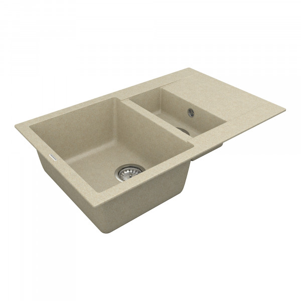 Кухонная мойка из кварцевого камня прямоугольная на полторы чаши Vankor Orman OMP 04.80 Beige