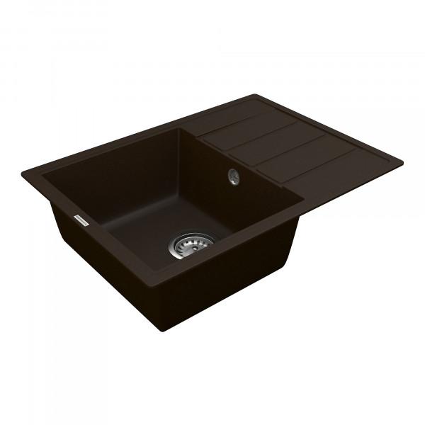 Кухонная мойка из кварцевого камня прямоугольная Vankor Easy EMP 02.62 Chocolate