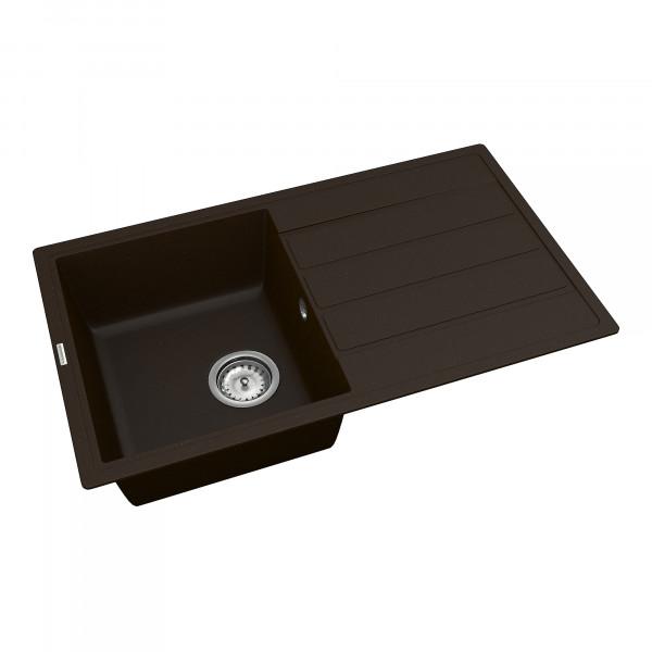 Кухонная мойка из кварцевого камня прямоугольная Vankor Easy EMP 02.76 Chocolate