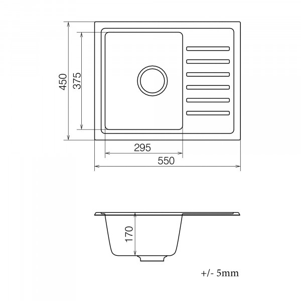 Кухонная мойка из кварцевого камня прямоугольная Vankor Lira LMP 02.55 Gray