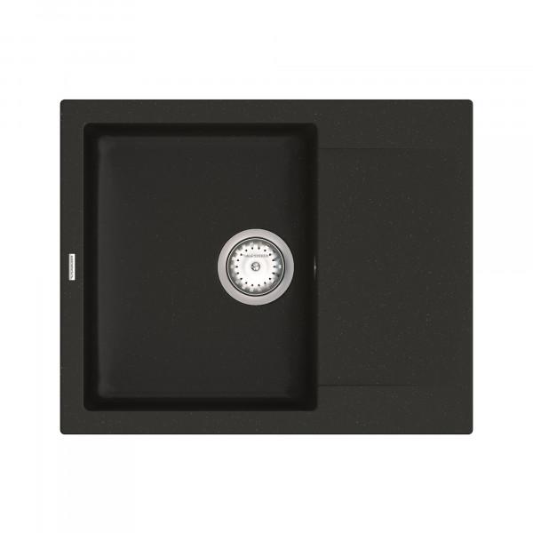 Кухонная мойка из кварцевого камня прямоугольная Vankor Orman OMP 02.61 Black