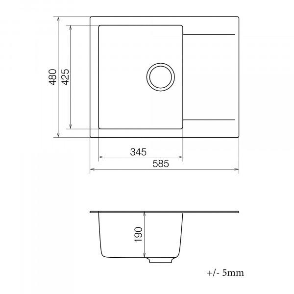 Кухонная мойка из кварцевого камня прямоугольная Vankor Orman OMP 02.61 Chocolate