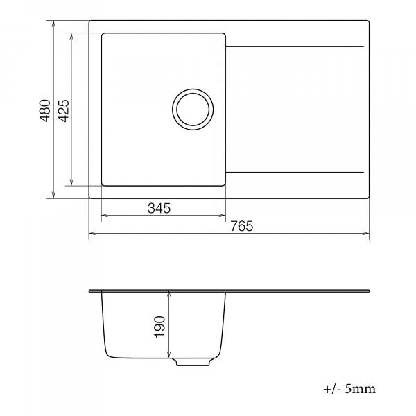 Кухонная мойка из кварцевого камня прямоугольная Vankor Orman OMP 02.78 Beige
