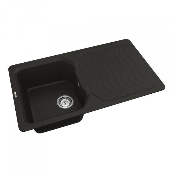 Кухонная мойка из кварцевого камня прямоугольная Vankor Sigma SMP 02.85 Black