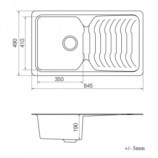 Кухонная мойка из кварцевого камня прямоугольная Vankor Sigma SMP 02.85 Beige