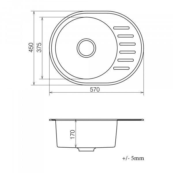 Кухонная мойка из кварцевого камня овальная Vankor Lira LMO 02.57 Gray