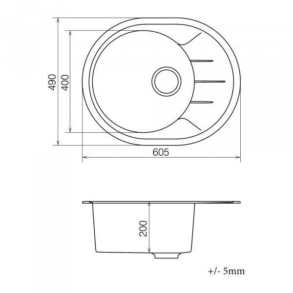 Кухонная мойка из кварцевого камня овальная Vankor Sity SMO 02.61 Gray