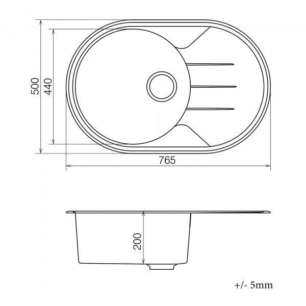 Кухонная мойка из кварцевого камня овальная Vankor Sity SMO 02.78 Black