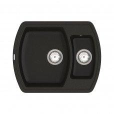 Кухонная мойка из кварцевого камня прямоугольная на полторы чаши Vankor Norton NMP 03.63 Black