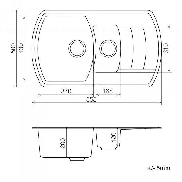 Кухонная мойка из кварцевого камня прямоугольная на полторы чаши Vankor Norton NMP 04.86 Beige