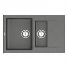Кухонная мойка из кварцевого камня прямоугольная на полторы чаши Vankor Orman OMP 04.80 Gray