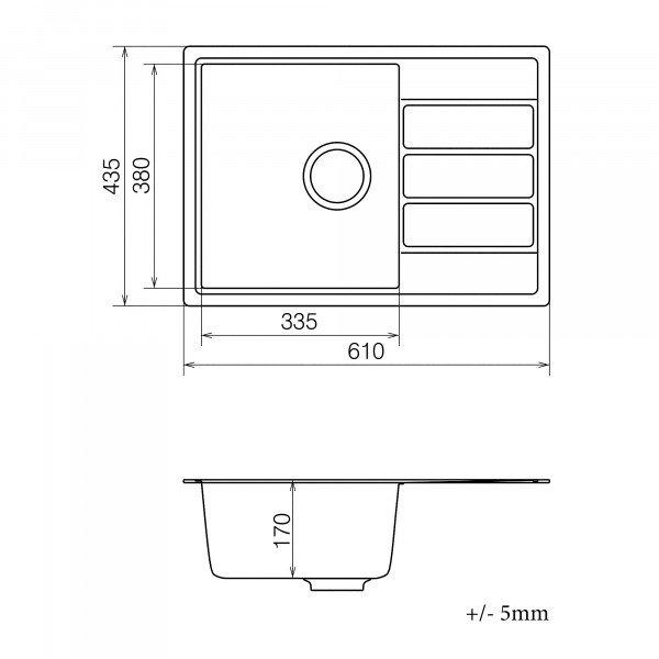 Кухонная мойка из кварцевого камня прямоугольная Vankor Easy EMP 02.62 Beige