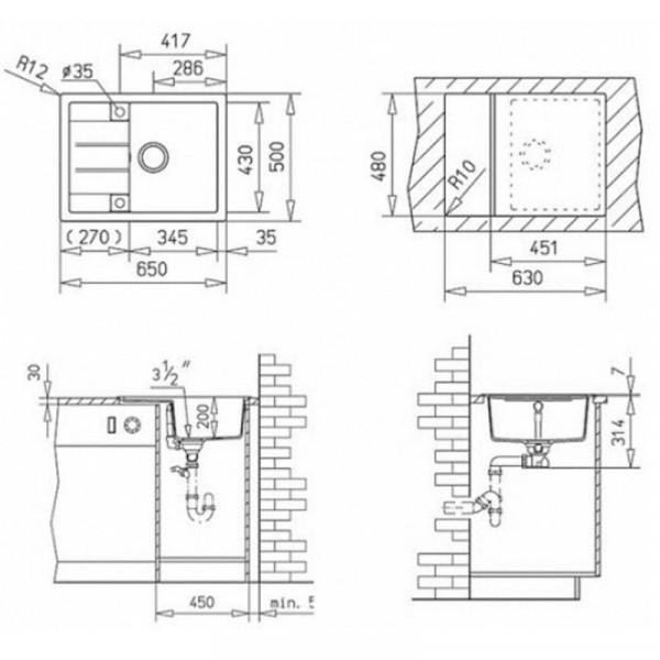 Кухонная мойка гранитная Adamant ANILA 650х500х210 11 терракота
