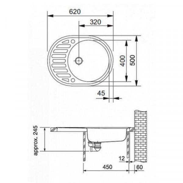 Кухонная мойка гранитная Adamant OVUM 620х500х202 03 черный