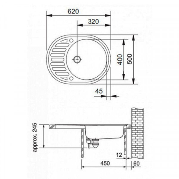 Кухонная мойка гранитная Adamant OVUM 620х500х203 04 серый