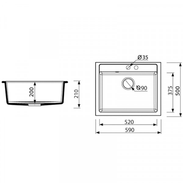 Кухонная мойка гранитная Adamant PRIZMA 590х500х207 08 слоновая кость