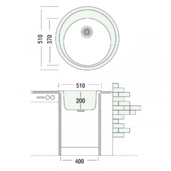Кухонная мойка гранитная Adamant SUN 510х207 08 слоновая кость