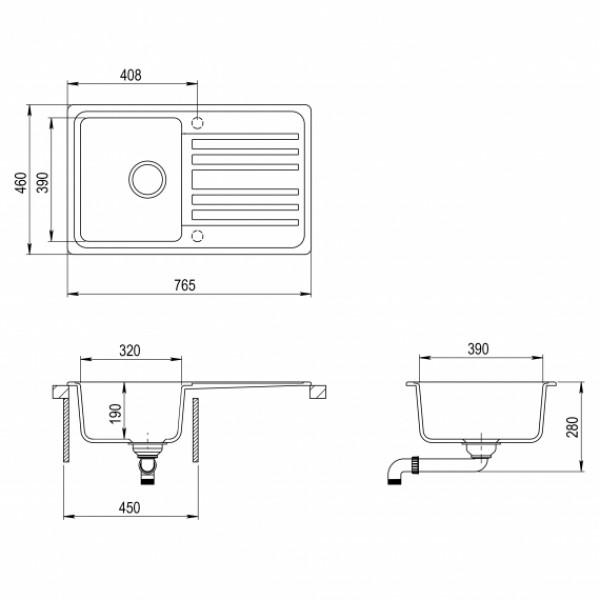 Кухонная мойка гранитная AquaSanita Notus SQ-101AW-112