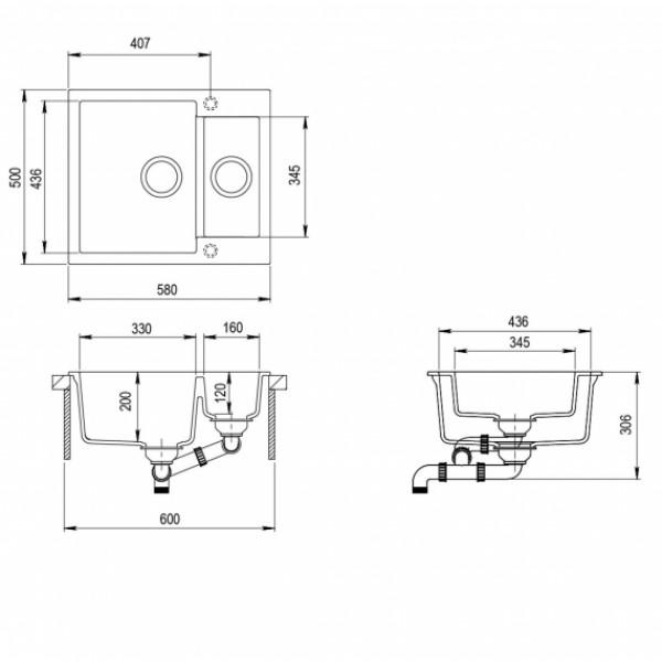 Кухонная мойка гранитная AquaSanita Tesa SQT-150-220