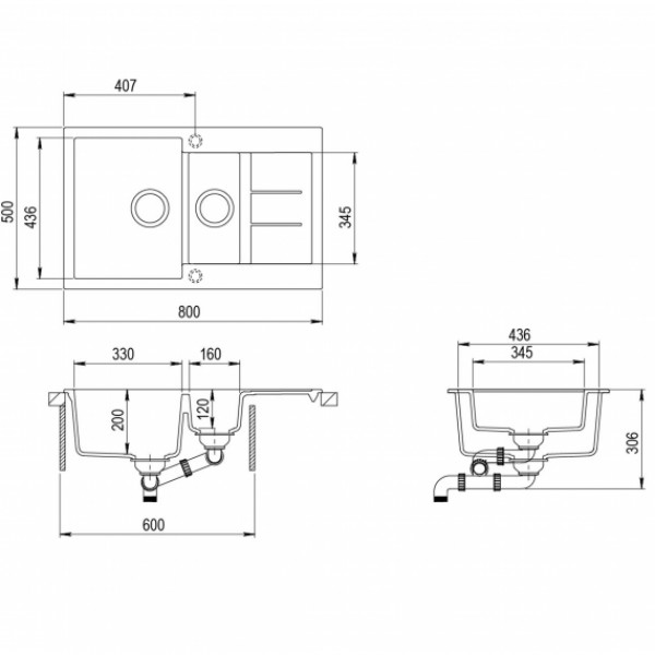 Кухонная мойка гранитная AquaSanita Tesa SQT-151-120