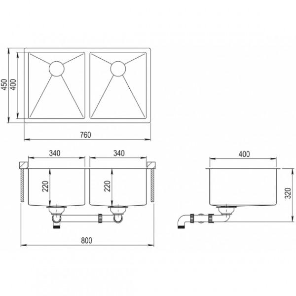 Мойка для кухни Aquasanita Enna ENN-200L