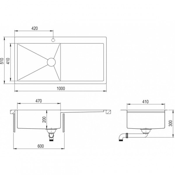 Мойка для кухни Aquasanita Luna LUN-101M-L
